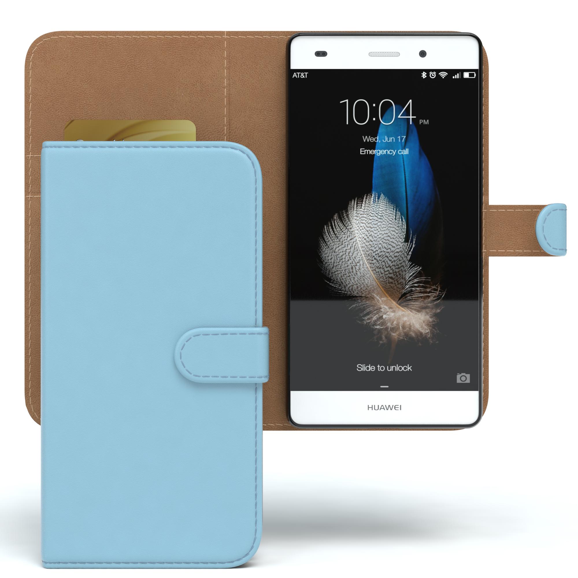 Tasche für Huawei P8 Lite (2015) Case Wallet Schutz Hülle Cover Hellblau