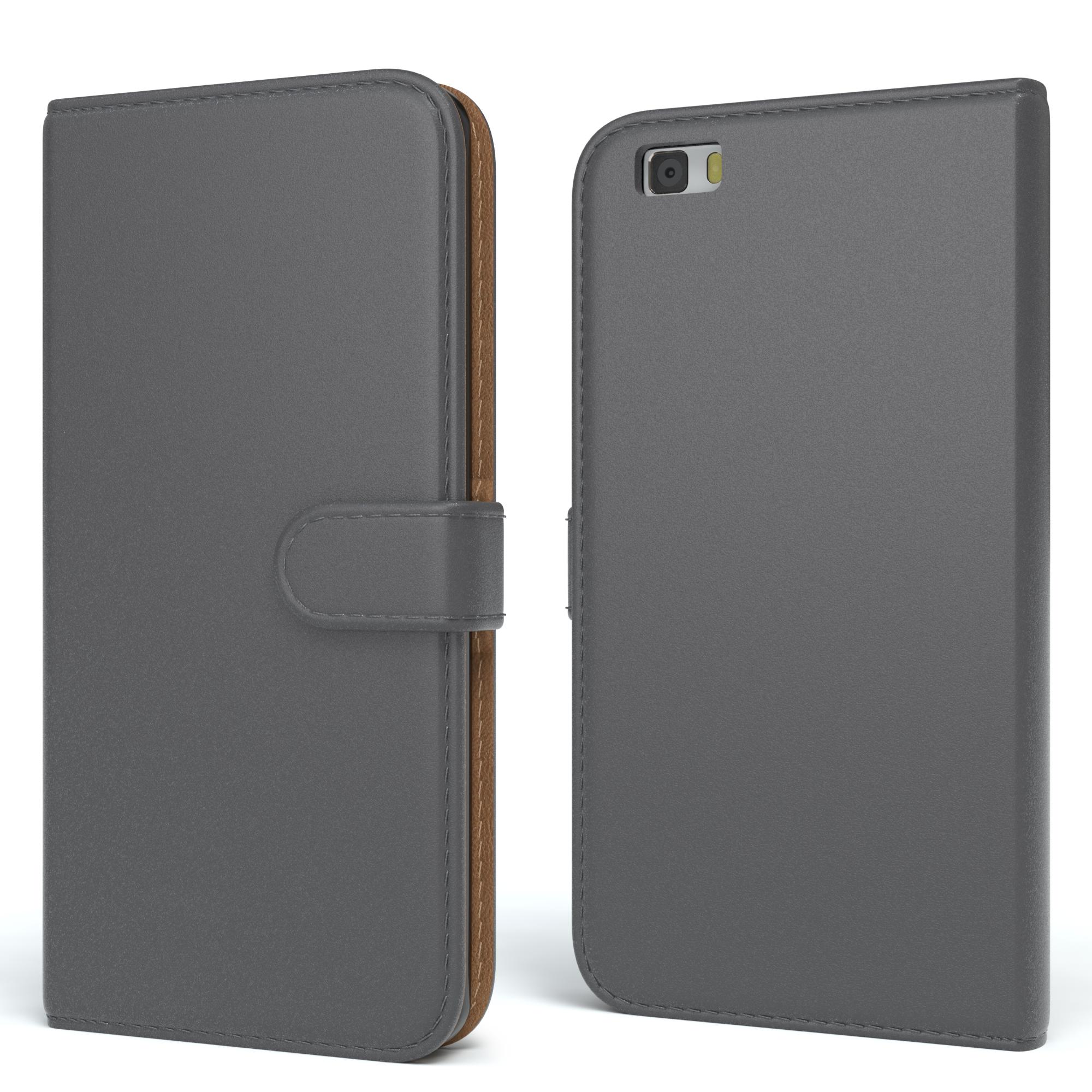 Tasche für Huawei P8 Lite (2015) Case Wallet Schutz Hülle Cover Anthrazit