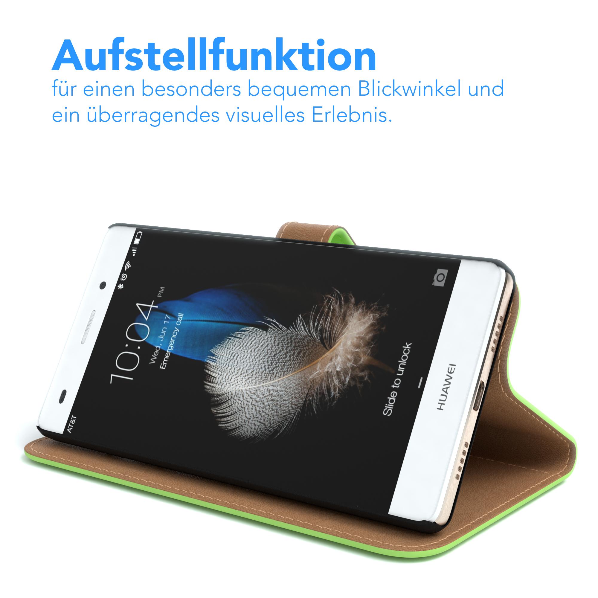 Tasche für Huawei P8 Lite (2015) Case Wallet Schutz Hülle Cover Grün