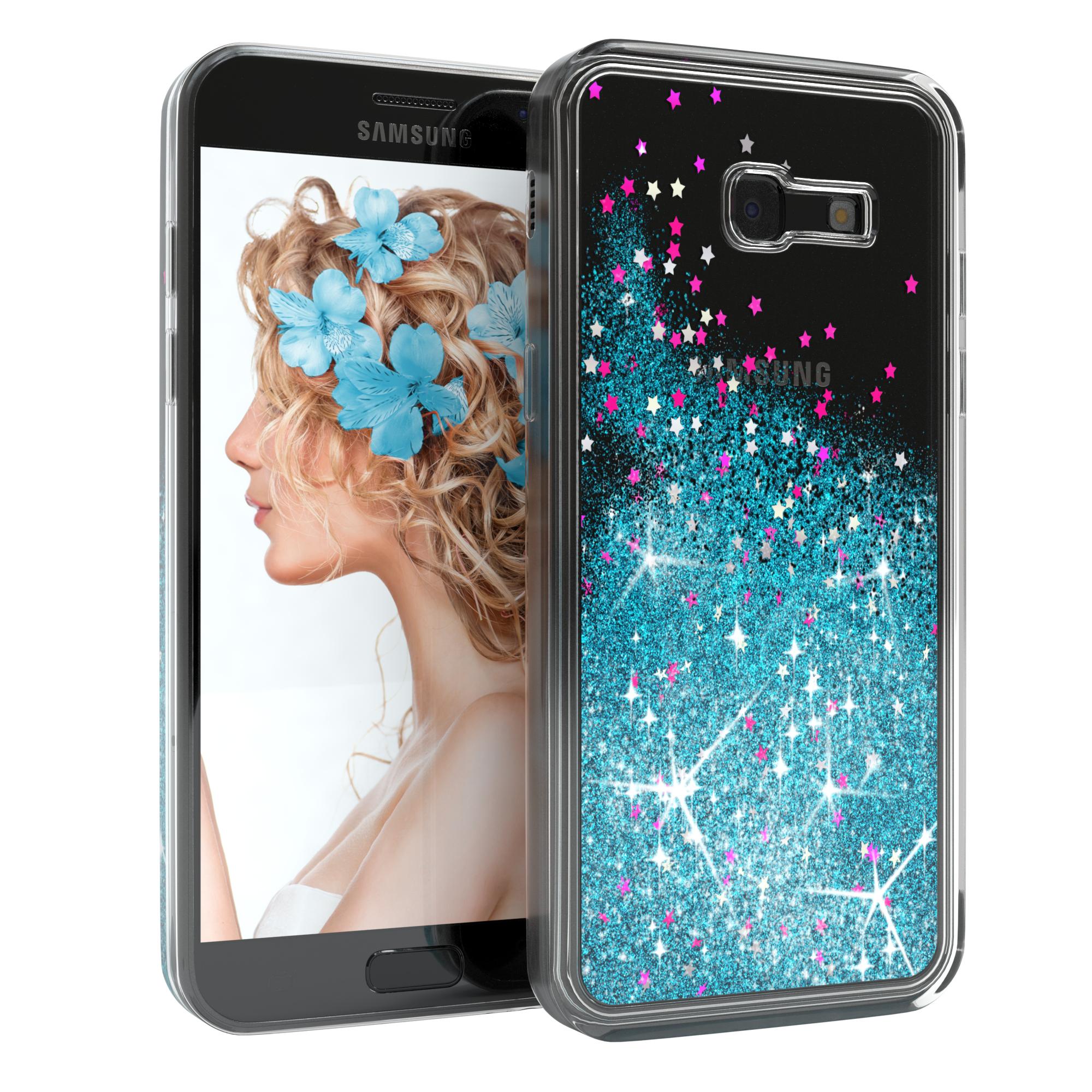 Samsung Galaxy A5 2017 Liquid Glitzer Cover Handy Case Blau