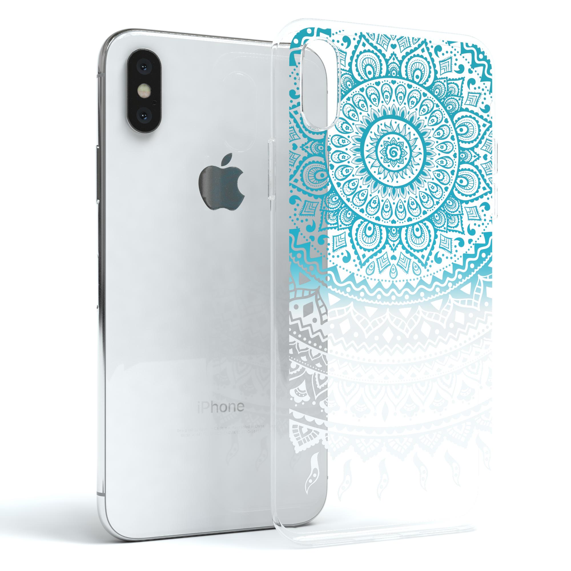 Huelle-fuer-Apple-iPhone-X-Schutz-Cover-Handy-Case-Motiv-Blau-Weiss