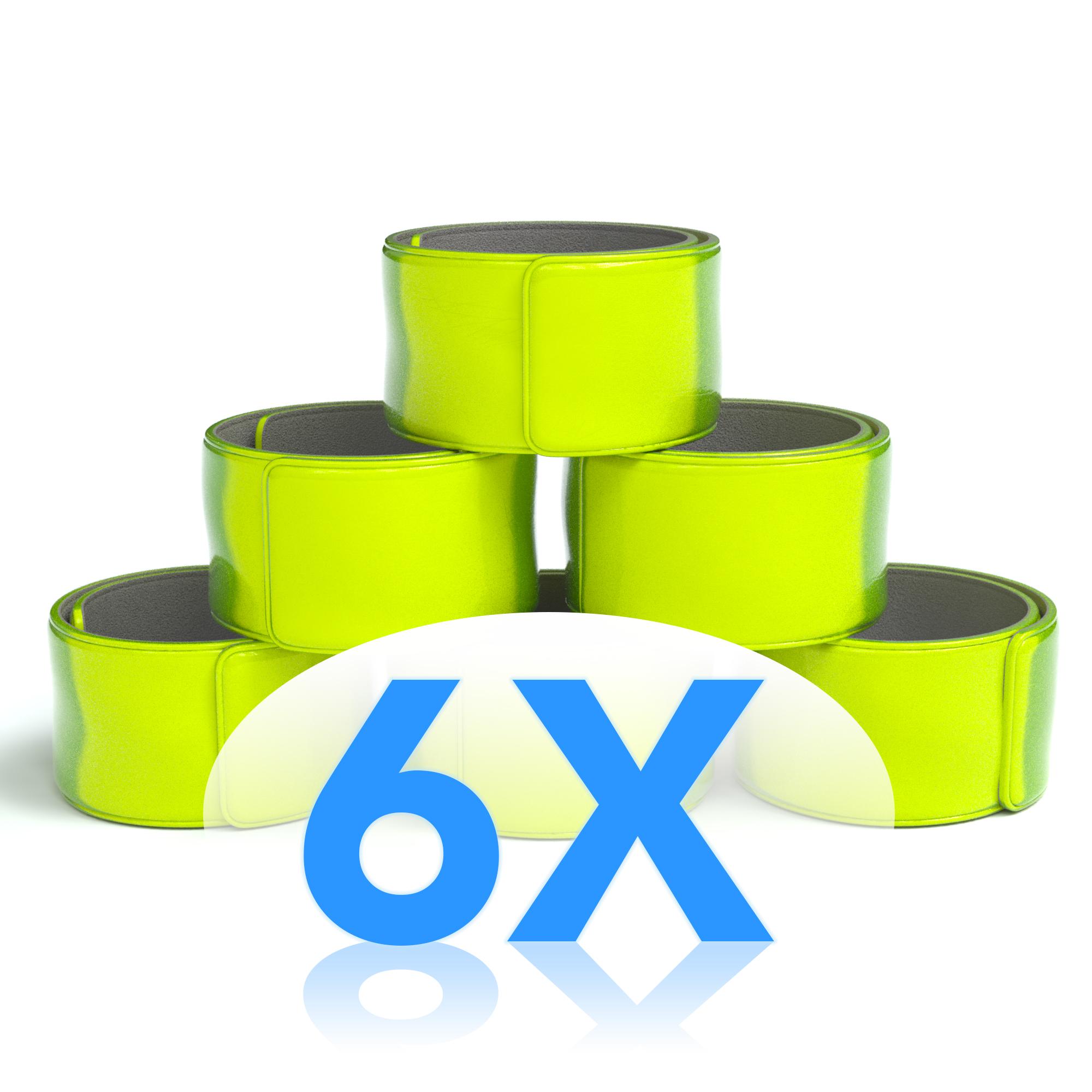 6x reflektorband schnapparmband leuchtarmband sicherheitsband arm bein neon gelb ebay. Black Bedroom Furniture Sets. Home Design Ideas
